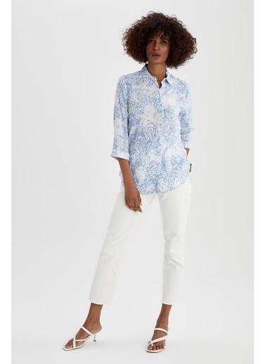 DeFacto Regular Fit Desenli Uzun Kollu Gömlek Mavi